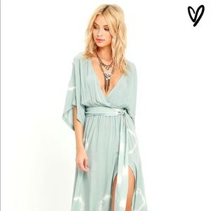 Green tie dye maxi dress